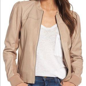Hinge Blush Nude Tan Leather Jacket size XXS